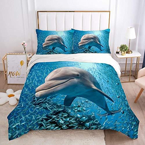 Funda Nordica Algodon 100% - Juego de Funda de Edredón Azul océano Animales delfinespara Cama 200x200cm con 2 Fundas de Almohada 50x75cm - Muy Suave Transpirable