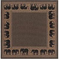 Couristan 1588/1021 Recife Elephant/Cocoa-Black 8-Feet 6-Inch Square Rug 商品カテゴリー: ラグ カーペット [並行輸入品]