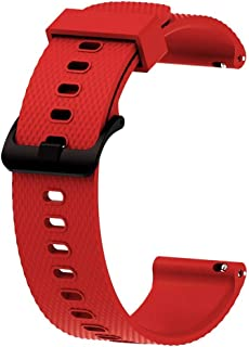 JKoYu Watch Accessories for 20MM Replacement Silicone Watch Strap Band for Garmin Vivoactive3 Vivomove HR - Red