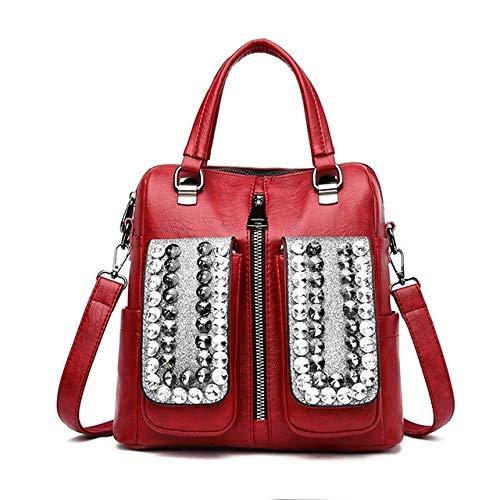 Rucksack für Damen, hochwertig, PU-Leder, hohe Kapazität, lässig, rot (Rot) - dgfg46