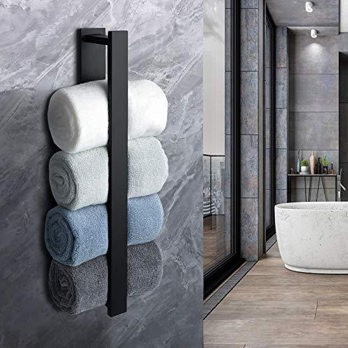 PHZ Handtuchhalter Selbstklebend Handtuchstange Ohne Bohren Gästehandtuchhalter Edelstahl Schwarz 40 cm