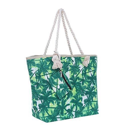 Große Strandtasche mit Reißverschluss 58 x 38 x 18 cm Palmen grün weiß Shopper Schultertasche Miami Florida Tasche