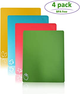 Flexible Cutting Board, Chopping Mat Color Coded with Food Icons Easy-Grip BPA-Free Food Cutting Mat Set for Kitchen Bar RV - Set of 4