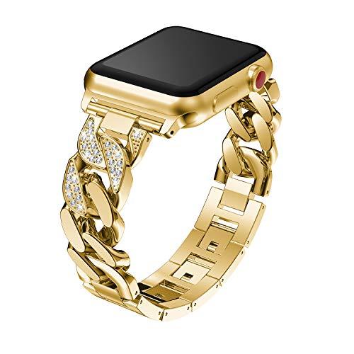 Xnhgfa Correa Compatible con iWatch 30mm 40mm 42mm 44mm iwatch Correa de Reloj Series 5 4 3 2 1Joyería del Vestido Banda de Reloj de Manzana con Diamantes Correa Acero Inoxidable,Oro,38/40MM