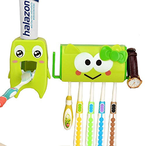 Toothbrush and Toothpaste Holder with Cover for Kids Bathroom
