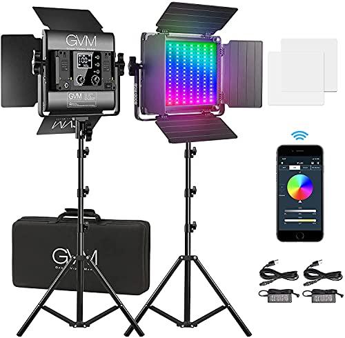 GVM 800D RGB LED Videoleuchte mit Stativ, APP Control Video LED Fotografiebeleuchtung, dimmbares RGB Video LED Lichtpanel für Fotografie YouTube Studio-Videobeleuchtung, Videoleuchte LED