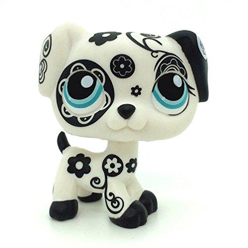 Littlest Pet Shop Collection LPS Black Flower Dalmatian Dog Toy #1613