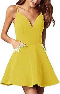 Jonlyc A-Line Spaghetti Straps Beaded Satin Short Homecoming Dresses with Pockets