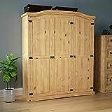 Corona 3 Door Wardrobe Solid Pine Wood Mexican Bedroom Furniture Arc Top (Color : 3 Door)