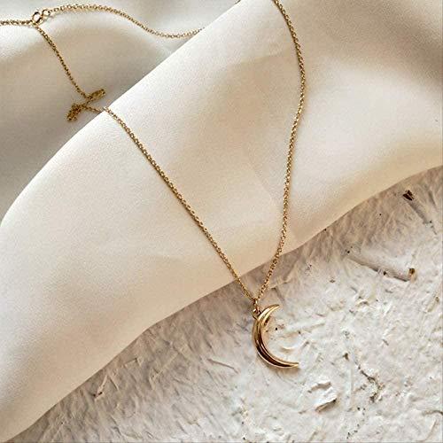 NC163 Collares con Colgante de Luna de Oro, Collar de Gargantilla de Media Luna de Plata esterlina, joyería para Mujer