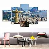 Statue Of Jesus Rio De Janeiro Brazil Christ Redeemer 5 Piece Canvas Art Decoration For Home Fabric Poster Painting Canvas