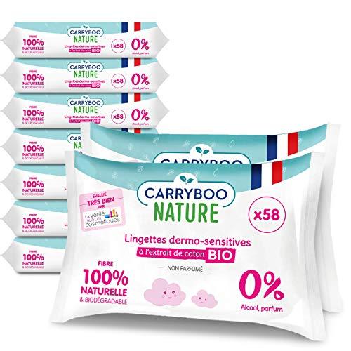 Carryboo - 522 Lingettes (9 Packs x 58) Bébé Biodégradables 100% Compostable - A utiliser dès la naissance sur Visage, Corps et Mains- Coton Bio, 0% Parfum et Alcool - Fabriquées en France