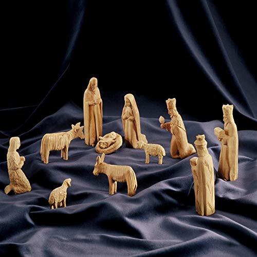 Figura Santa Krippenfiguren GOTISCHER Stil. Höhe ca. 13cm. Holzkrippe handgeschnitzt in Bethlehem aus Olivenholz