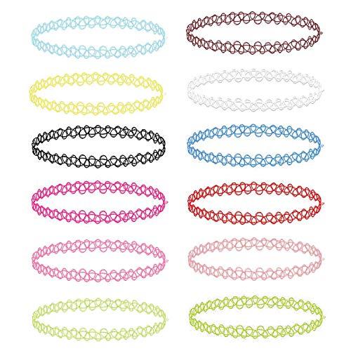 BodyJ4You 12PC Choker Necklace Set Henna Tattoo Stretch Elastic Jewelry Women Girl Jewelry Gift Pack