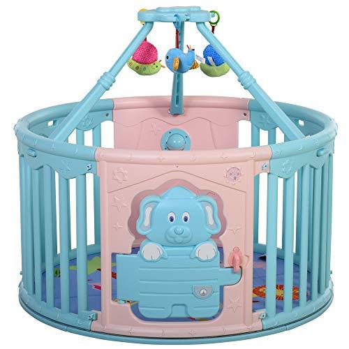 HOMCOM Baby Laufgitter, Absperrgitter, rundes Schutzgitter mit Tür und Spiel Bodenmatte für 6-36 Monate, PE, PP, Rosa+Blau, Ø117 x 65,5 cm