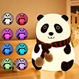 LED Night Light for Kids, USB Rechargeable Silicone Panda Night Light, Multicolor Cute Nursery Night Lights with Warm White and 7-Color Breathing Modes for Kids, Baby, Children, Bedrooms