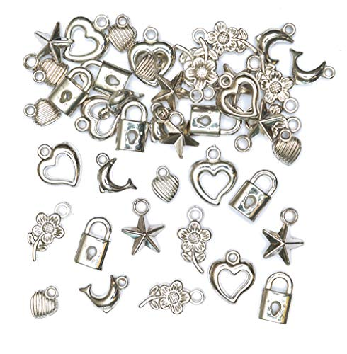 Baker Ross Silver Coloured Bracelet Charms (Pack of 90) For Kids to Make Jewellery, Assorted