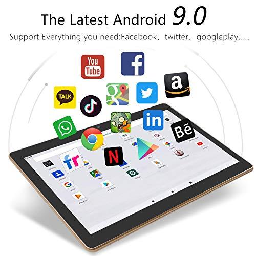 YOTOPT Tablet 10 Zoll, Android 9.0, 4GB RAM, 64 GB ROM, Quad Core, 5Mp + 2MP Kamera, 1280 * 800 IPS, Wi-Fi + LTE, Bluetooth, GPS, Schwarz (Black)