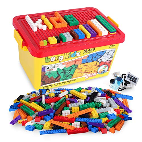 burgkidz Klassisch Bausteine für Kinder, 520 Teile Grundbausteine mit Spielzeugkiste, Kompatibel mit den Meisten Großen Markenblöcken