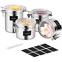 Farochy 4-Piece Stainless Steel Airtight Food Storage Canister Set
