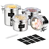 Stainless Steel Airtight Canister Set - Farochy 4-Piece Food Storage Containers for Kitchen