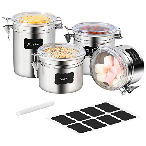 Stainless Steel Airtight Canister Set - Farochy 4-Piece Food Storage Containers for Kitchen Counter Coffee Tea Nuts, Sugar Flour Canister with Clear Acrylic Lid n Locking Clamp And Labels & Chalk