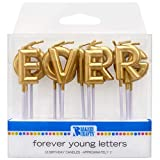 DecoPac Gold Forever Young Letters Specialty Cake Candles