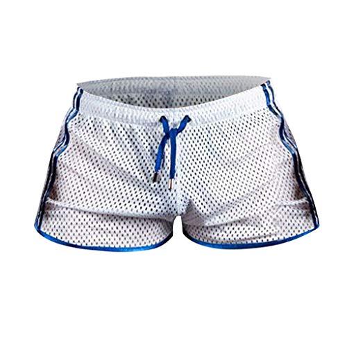 Xmiral Badehose Herren Transparent Mesh Schnelltrocknend Mini Boxershorts Atmungsaktiv Beach Schwimmshorts mit Kordel(Weiß,L)