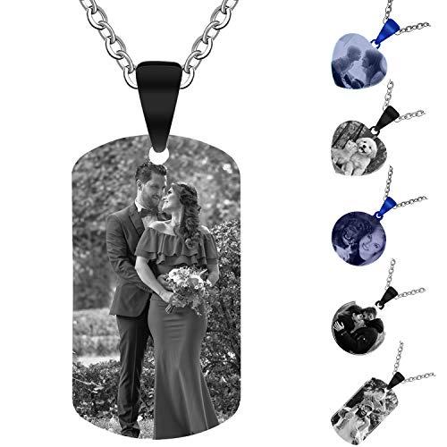 Aludai Llavero Personalizado Grabado Colgante de Collar de Acero Inoxidable con Colgante de Regalo Personalizado (Rectángulo, Negro)