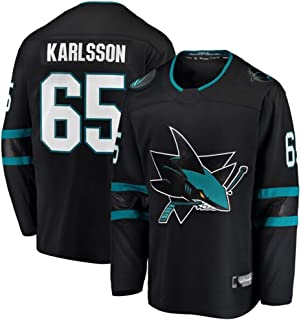 Franklin Sports Men's #65 Erik Karlsson Black San Jose Sharks Breakaway Player Jersey Authentic Pro Jersey