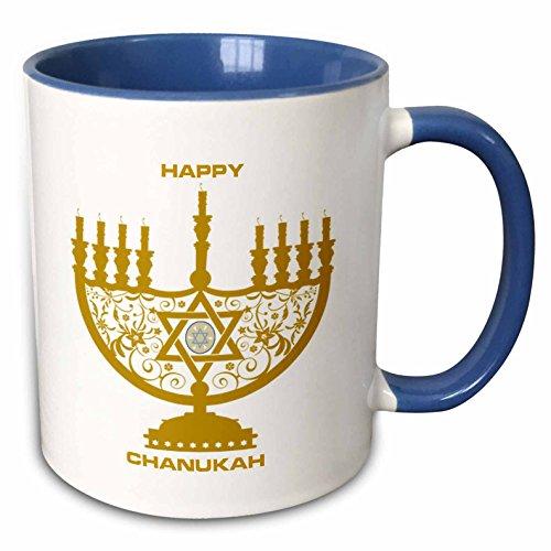 3dRose mug_62479_6'Chanukah Joy' Two Tone Blue Mug, 11 oz, Multicolor
