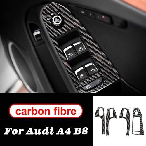 Bosses For los Accesorios Interiores del Interruptor del Bastidor Audi A4 B8 2009-2016 LHD RHD Fibra de Carbono Elevalunas Control del Coche Panel de Ajuste del reposabrazos Decoración del Coche
