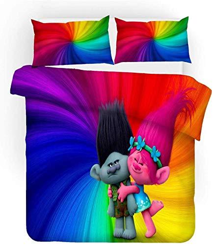 Juego de ropa de cama infantil de Trolls, 100 % microfibra, suave y cómodo, 2 fundas de almohada (03,220 x 260 cm (80 x 80 cm)