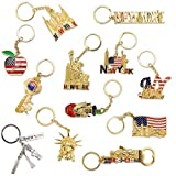 hollywood bottle opener - New York NYC Bundle Souvenir Metal Keychain 12 Pack~Statue Of Liberty,Usa Flag,World Trade Center,Empire State Building,Bottle Opener too & More-Bonus a Race Day Car (Gold)