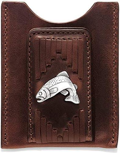 Brighton West Fork Money Clip - Mens Leather - BROWN [3