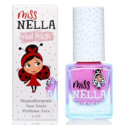 Miss Nella neue Sommerkollektion BLUEBERRY SMOOTHIE- Spezieller lila Nagellack mit Glitzer für Kinder, Peel-Off-Formel, wasserbasiert und geruchsneutral