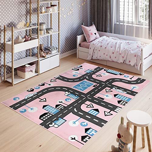 Tapiso Pinky Teppich Kurzflor Kinderteppich Kinderzimmer Pink Blau Schwarz Weiß Pastellfarben Modern Straße Spielteppich ÖKOTEX 120 x 170 cm