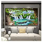 Grüner Wald Wasserfall Natur Landschaft Wandbild-Benutzerdefiniert Beliebige Größe 3D Wallpaper Wohnzimmer Schlafzimmer Fototapeten 280 cm (B x 230 cm)