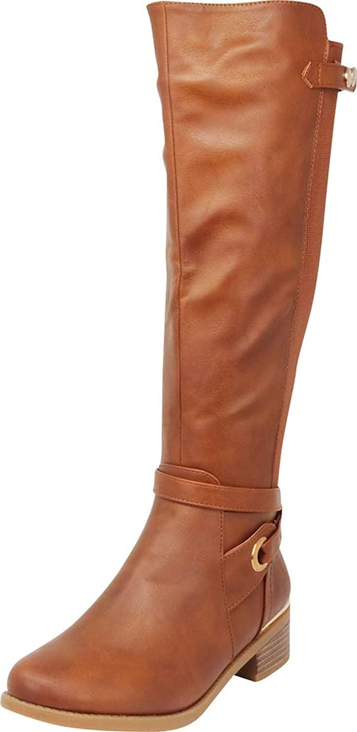Cambridge Select Women's Round Toe Wraparound Strappy Stretch Knee-High Chunky Low Heel Riding Boot