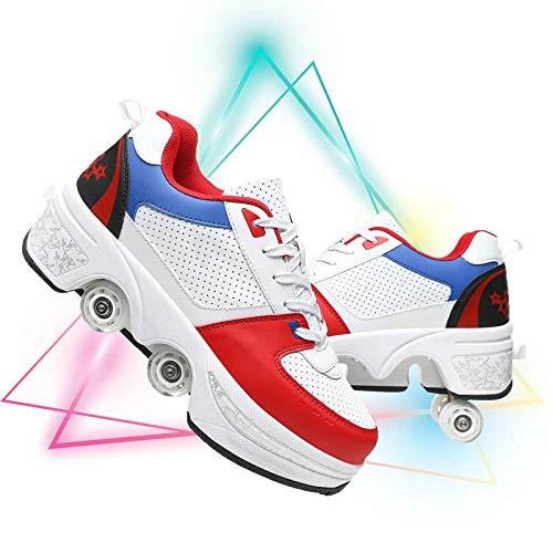 Zapatos Multiusos 2 En 1 Patines Zapatillas Quad Roller Polea Los Patines De Hielo Patines En Línea De Nuevo Diseño Rodillo Shoes Sneakers,White Blue,EU 41(US 9.5)