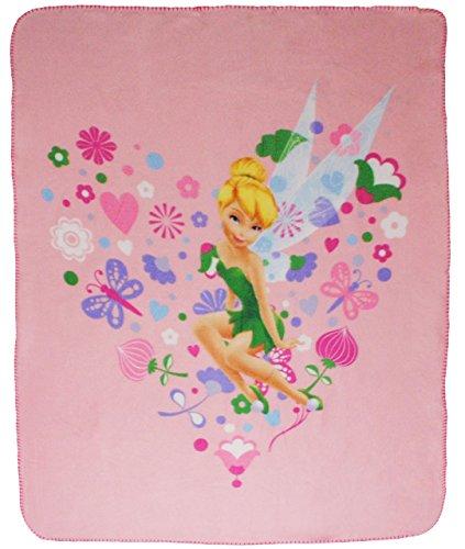 alles-meine.de GmbH Kuscheldecke / Fleecedecke -  Disney Fairies - Tinkerbell  - 110 cm * 140 cm - Decke aus Fleece - für Mädchen Fairy / Erwachsene - Schmusedecke - Herz / Her..