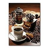 CCZWVH Retro Coffee Tazas de Lona Pintura de café café expreso con Molinillo de café Antiguo Pósteres y Estampados Imágenes de Arte de Pared para Sala de Estar 16x24in Sin Marco