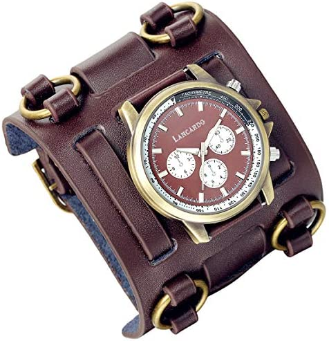 Mens Retro Steampunk Rock Gothic Brown Wide Genuine Leather Bracelet Cuff Watches Replaceable product image