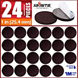 Felt Furniture Pads 24pcs 1 inch Brown Furniture Pads Self Adhesive Felt Pads for Furniture on Hardwood Floors Anti Scratch Think Round Furniture Felt Pads Chair Leg Floor Protectors for Furniture Leg