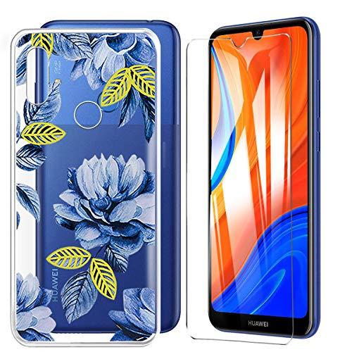 HYMY Hülle für Huawei Y6S 2020 + 1 x Schutzfolie Panzerglas - Transparent Schutzhülle TPU Handytasche Tasche Durchsichtig Klar Silikon Hülle für Huawei Y6S 2020 (6.09