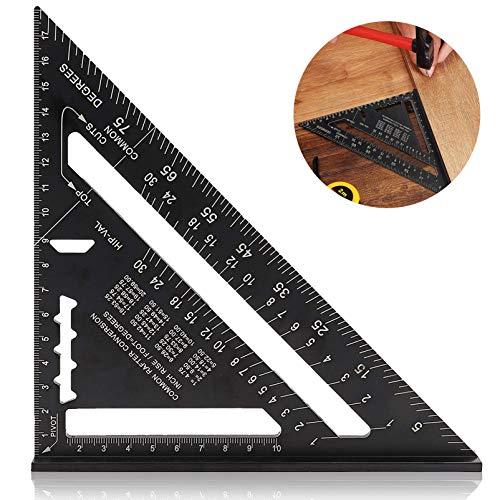 7 Zoll Dreieck Winkelmesser,Dreieck Lineal,Anschlagwinkel Aluminium Dreieck Lineal,Schwarz Alu Geodreieck,Winkelmesser,Messlineal Werkzeug,Dreieck-Winkelmesser,Hochpräzises Dreieck Lineal