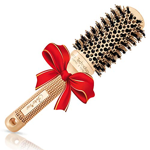 Blowout Round Hair Brush (1.7' Medium Barrel) with Boar Bristles for Blow Drying, Straightening, Styling Shoulder Length Hair, Wavy or Loose Curls