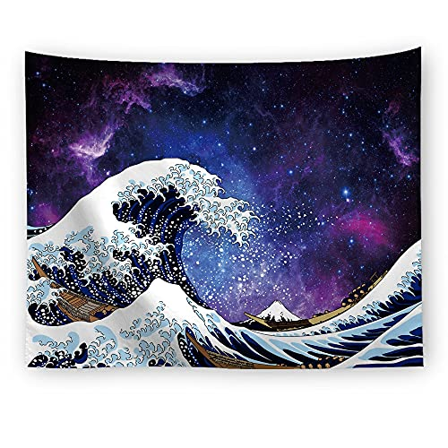 Psicodélico blanco negro océano ola tapiz colgante de pared paisaje tapiz de pared manta de pared tapiz psicodélico A3 150x200cm
