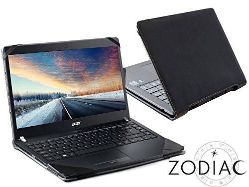 Navitech schwarzes premium portfolio leder Case / Cover Trage Tasche / speziell für das Acer Travelmate p6 series P648 / P658