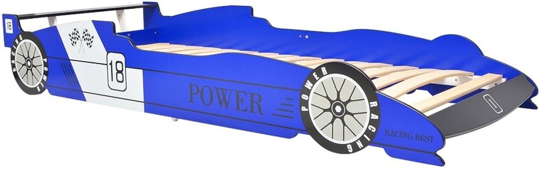 Unfade Memory Rennwagen-Bett Kinderbett Autobett Jugendbett Juniorbett Bett ohne 90 x 200 cm Matratze ideal für Alter ab 4 Jahren (Blau)